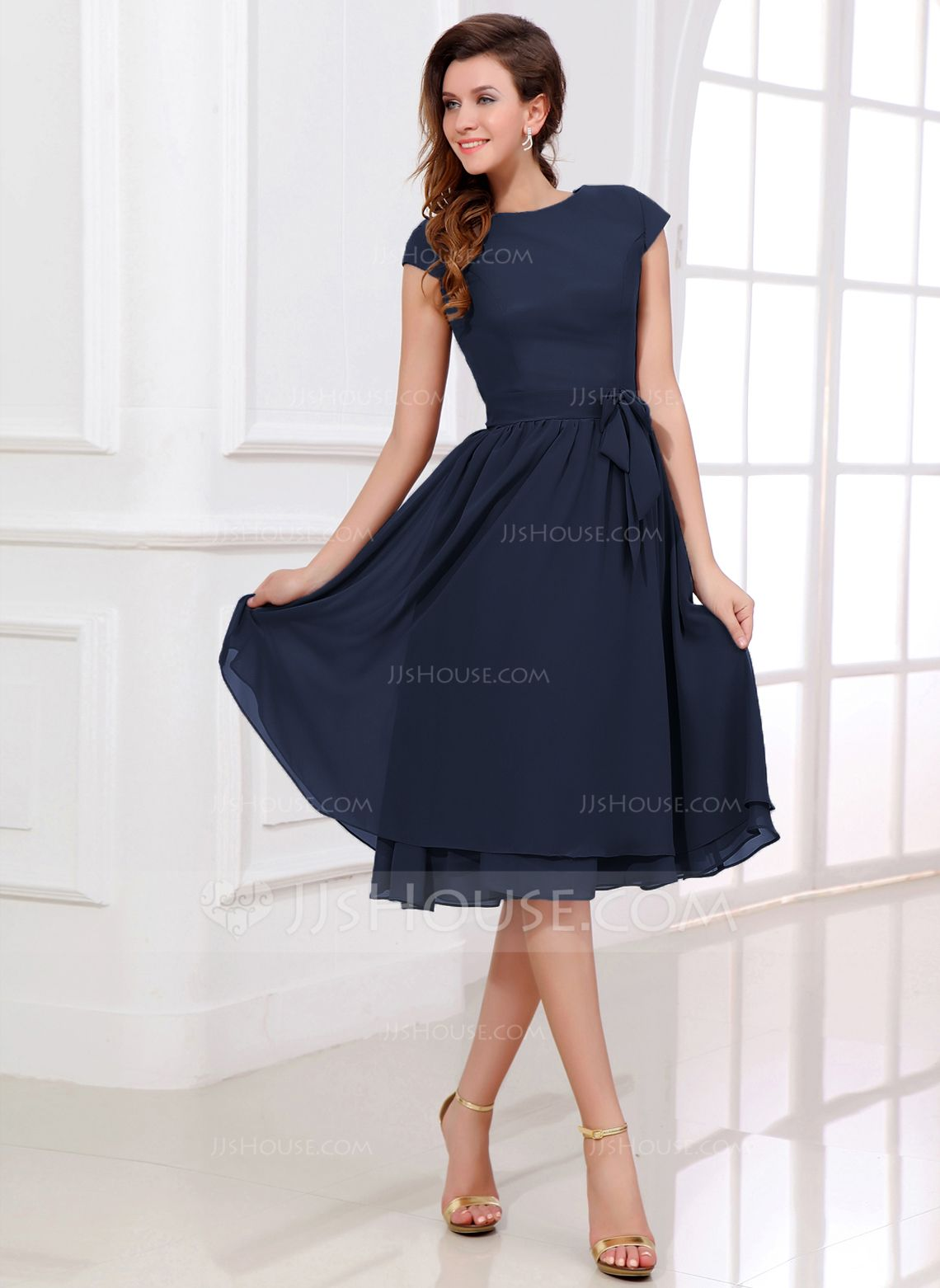 chiffon knee length dresses with sleeves
