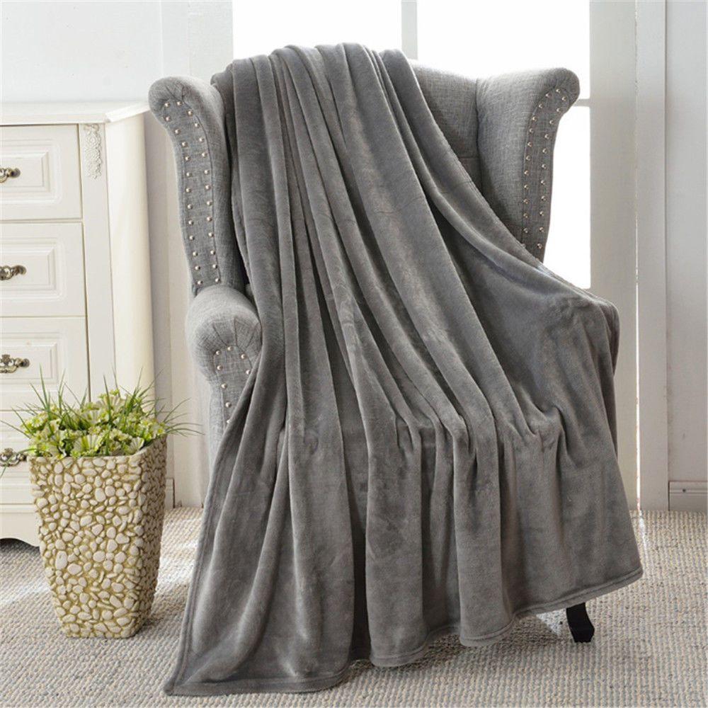 Super Soft Long Flannel Fleece Chic Fuzzy Warm Elegant Fluffy Sofa Throw  Blanket