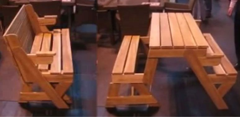 Un banc qui se transforme en table en une seconde tables for Meuble qui se transforme