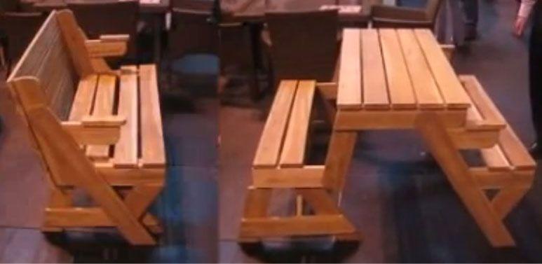 Un banc qui se transforme en table en une seconde