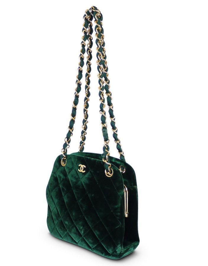 9af50b9c999e Chanel Green Velvet Special Occasion Bag Rare Vintage   Products ...