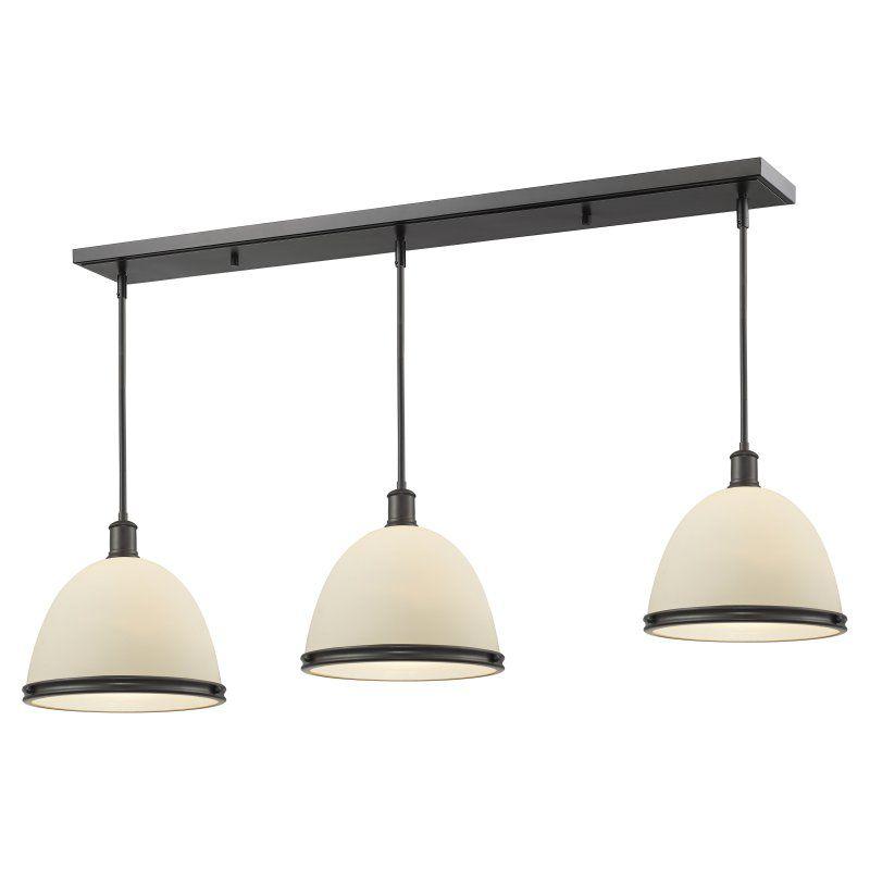 Z-Lite Mason P13-3 Kitchen Island/Billiard Light Matte Opal/Bronze - 712P13-3BRZ