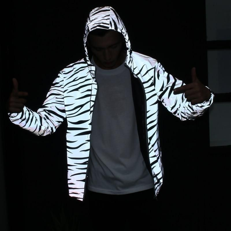big discount best deals on arriving 2019 3M Reflective Light Jacket Men Mesh Style Noctilucent Zebra ...