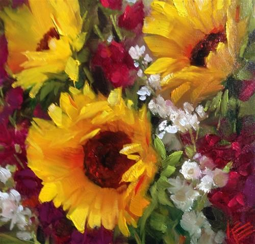"Daily Paintworks - ""Sunflowers & Stock"" by Krista Eaton"