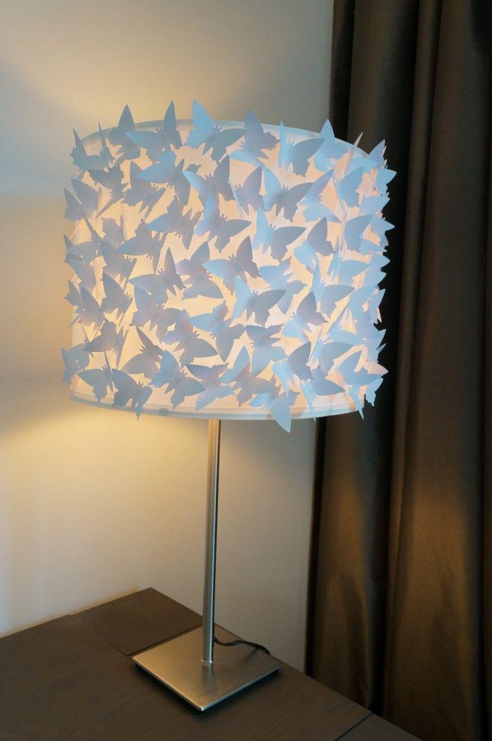 Lampenkap Met Witte 3d Vlinders Staande Lamp With Images Lamp