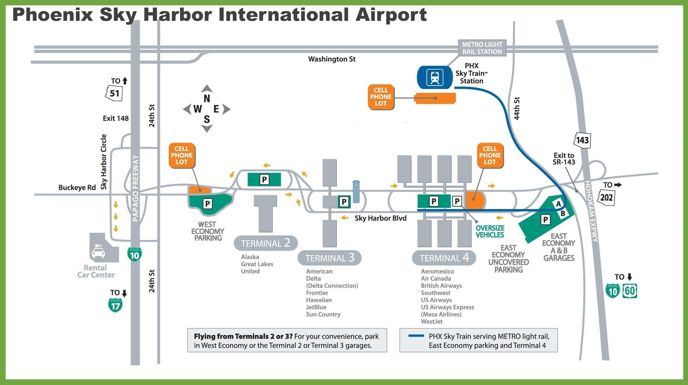 phx map terminal 4 Phoenix Sky Harbor International Airport Map Airport Map Phoenix Sky Harbor International Airport Printable Maps phx map terminal 4
