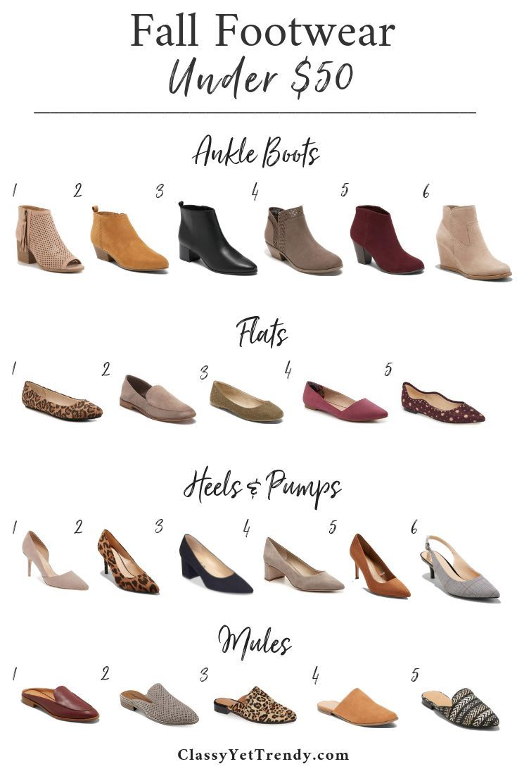 Fall Footwear Under $50 - A few classic and trendy shoes to add to your Fall war...
