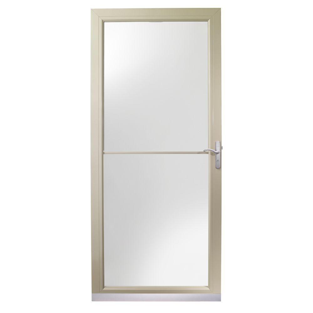 Andersen 3000 Series 36 In Sandtone Aluminum Self Storing Truscene Storm Door With Nickel