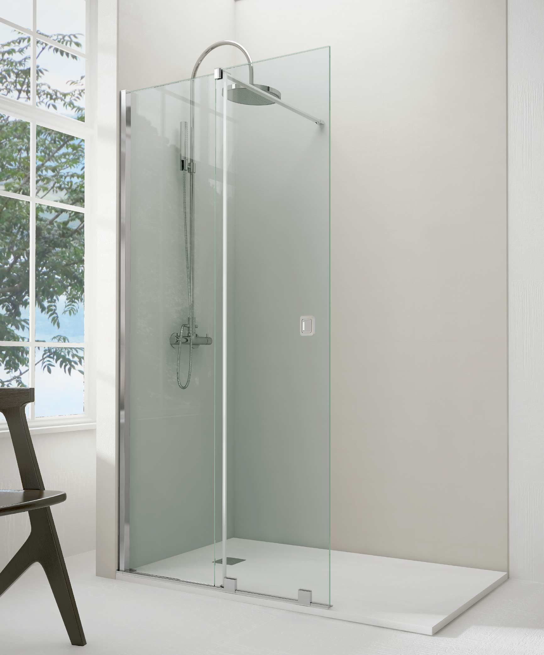 Mampara ducha rectangular Rectus (1 fijo + 1 puerta corredera ...