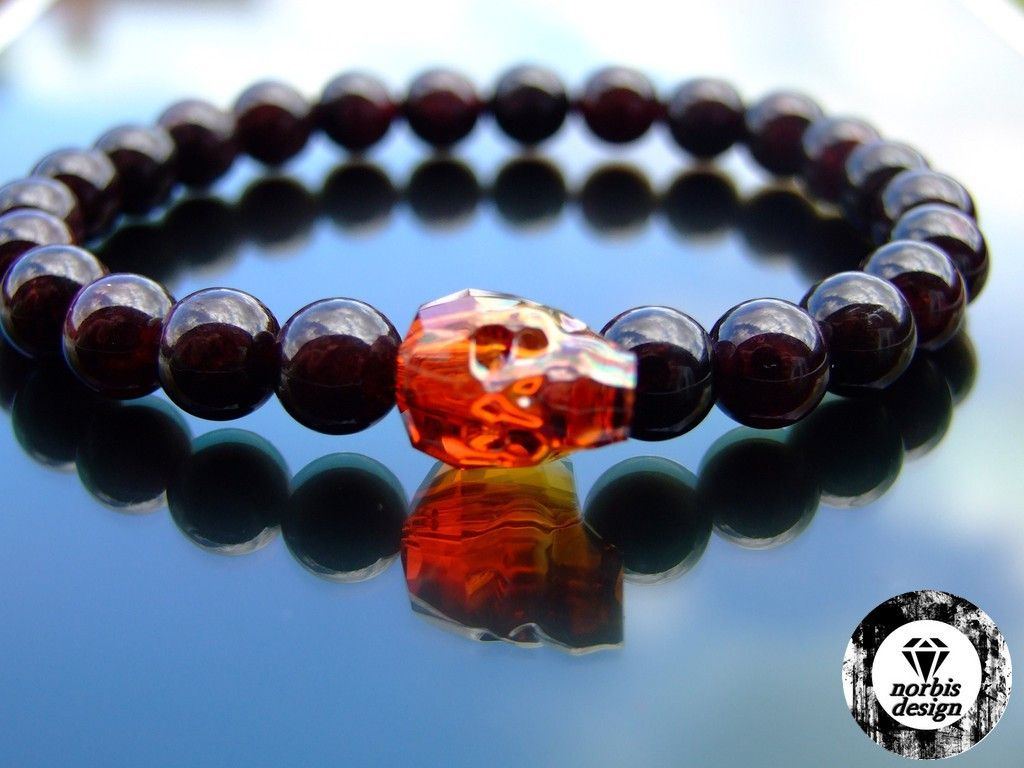 440f0f130bd6 Swarovski Red Magma Crystal Skull Garnet Bracelet