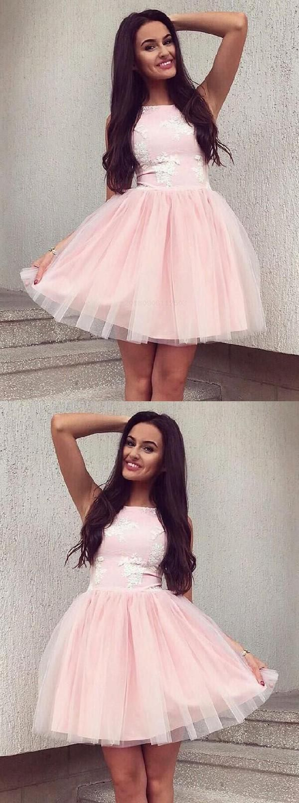 Cheap nice pink prom dresses aline homecoming dresses lace