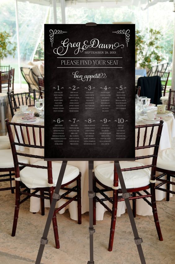 printable seating chart chalk board please find by pompdesigns