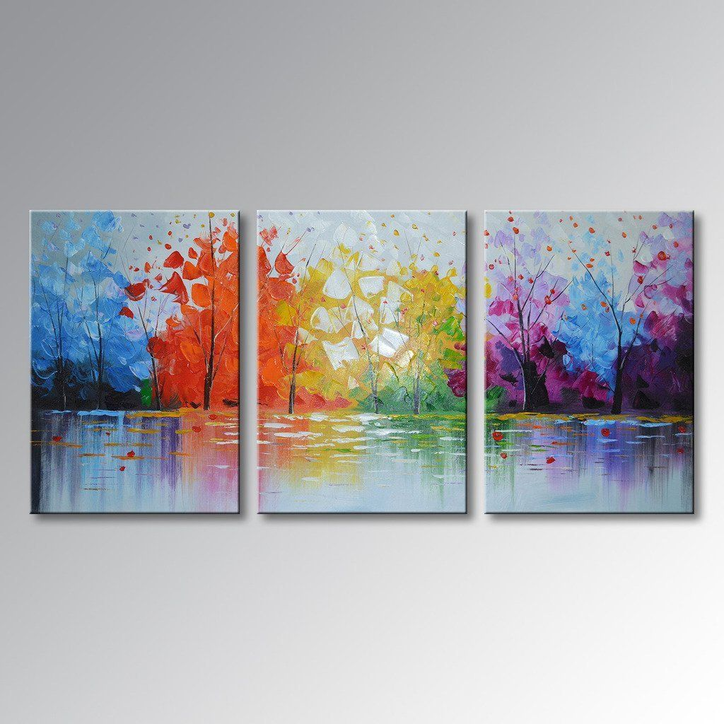 Everfun Art Hand Painted Oil Painting 3 Pieces Modern Abstract Wall Hanging Lake Scenery Landscape Canvas Picture Framed Ready To Hang 48 W