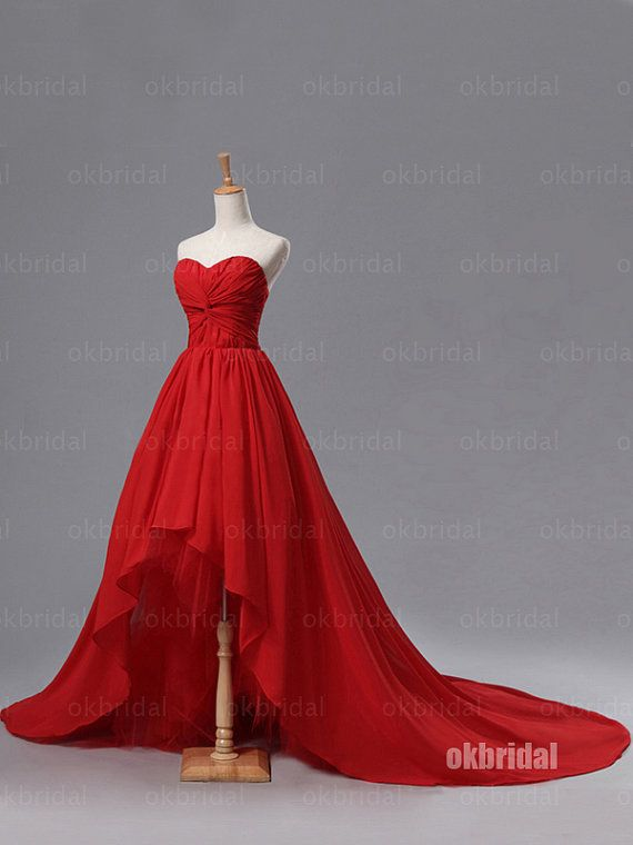 High low prom dress, red prom dress, chiffon prom dress, 2017 prom ...