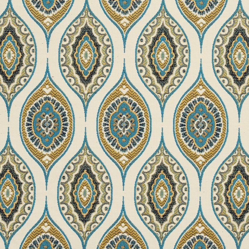 Aqua And Gold Contemporary Brocade Drapery And Upholstery Fabric