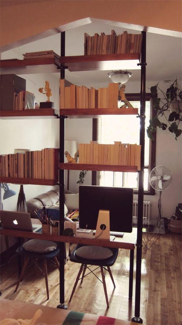 Open Bookshelf Room Divider Something We Are Thinking About For Our Small Bedroom Office Apartamentos Pequenos Decoracao Apartamento Pequeno Espacos Pequenos