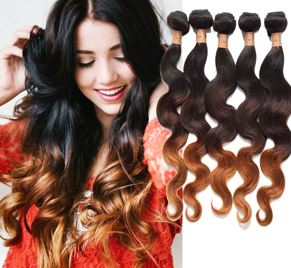 1B/4/28 Ombre Real Human Hair Extensions 3Tone Body Wavy