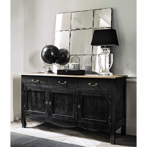 Buffet en manguier noir L 160 cm Decoration sejour Pinterest