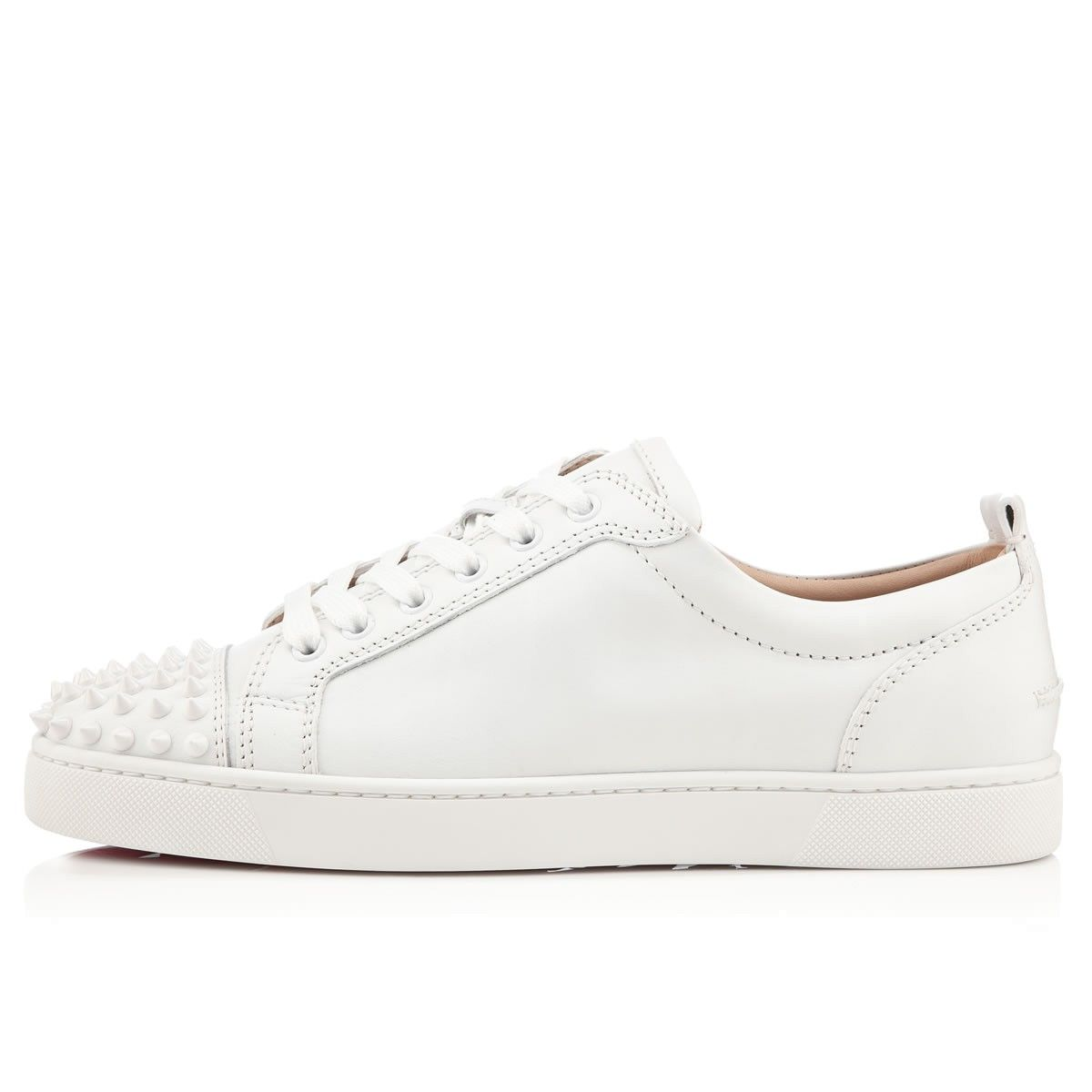 louis junior spikes s flat white white leather
