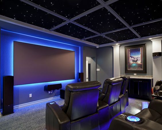 Love The Led Lights Behind Screen Indoor Movie Nights