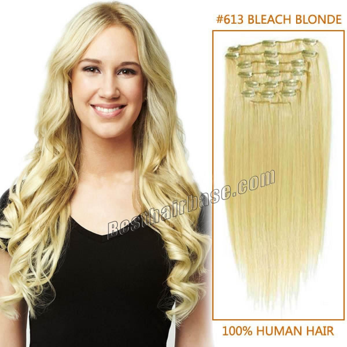 32 Inch Long Neat Straight Clip In Remy Human Hair Extensions 613