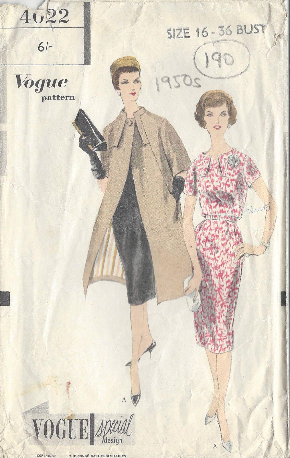 Details zu 1950s Jahre Vintage Vogue Nähen Muster Brustumfang B36 ...