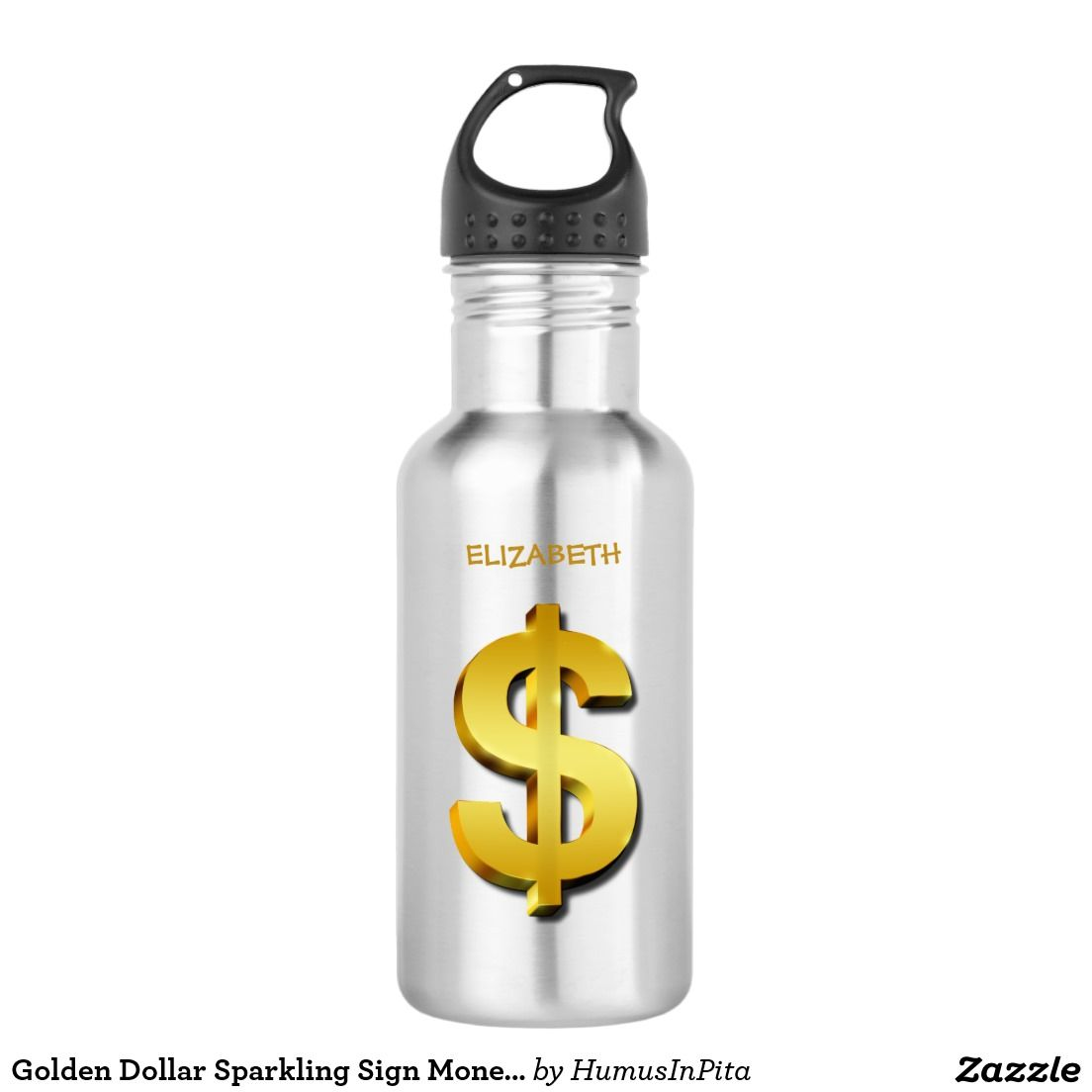 Golden Dollar Sparkling Sign Money Symbol Water Bottle Wear