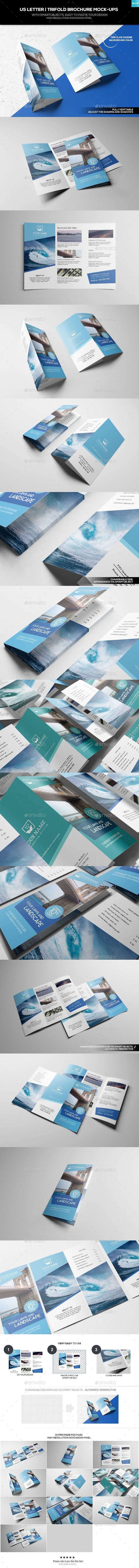 Us Letter  TriFold Brochure MockUp  Tri Fold Brochure Tri