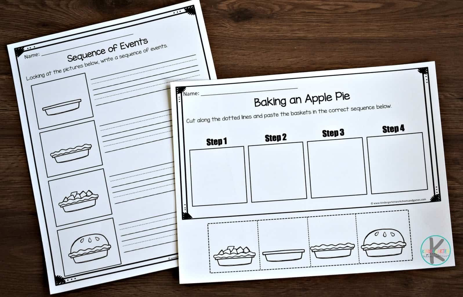 Sequence Worksheets For Kindergarten Fall Sequence Of