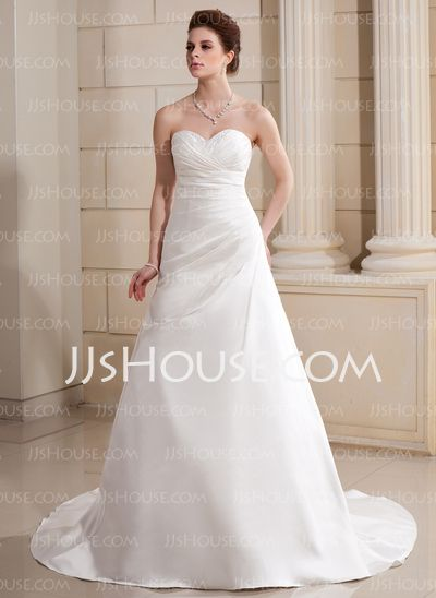Wedding Dresses - $186.99 - A-Line/Princess Sweetheart Court Train Satin Wedding Dress With Ruffle Beadwork (002000686) http://jjshouse.com/A-Line-Princess-Sweetheart-Court-Train-Satin-Wedding-Dress-With-Ruffle-Beadwork-002000686-g686