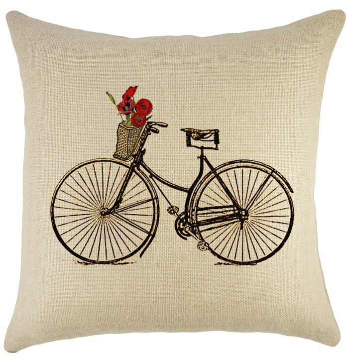 Bike & Basket Burlap Pillow