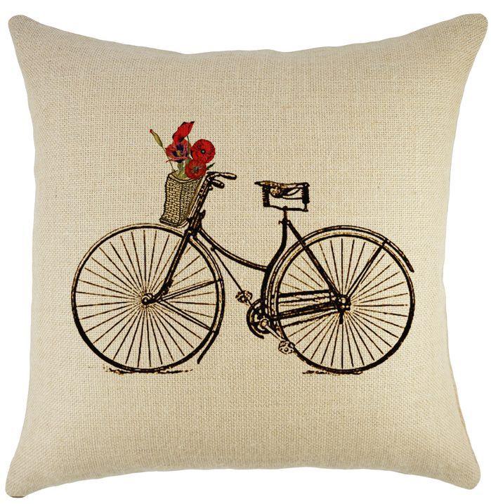 Bike & Basket Burlap Pillow