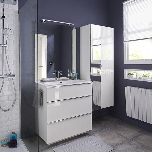 Meuble de salle de bains blanc 80 cm Pamili - CASTORAMA Maison