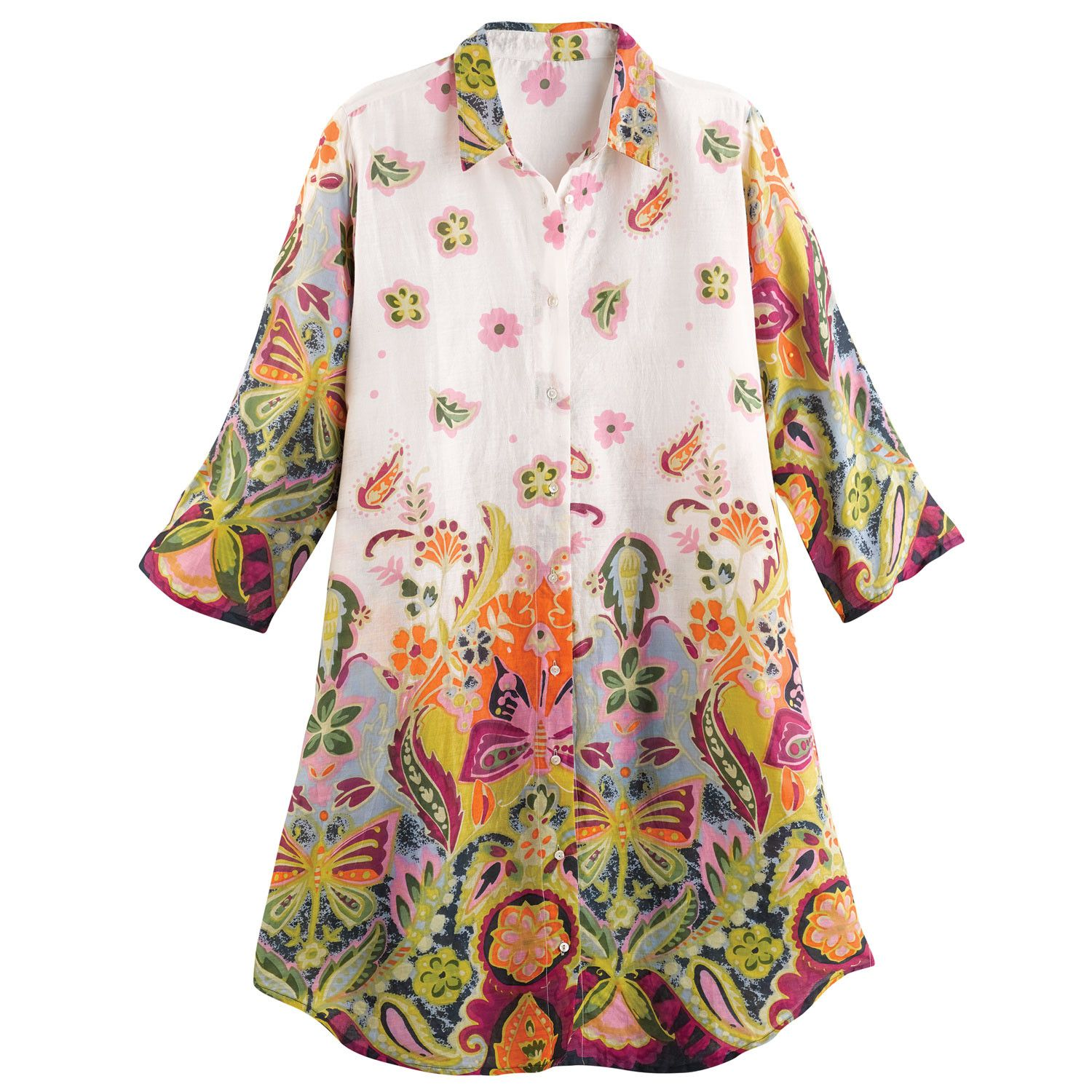 Catalog Classics Women/'s Wildflowers Tunic Embroidered Floral Top with Tank