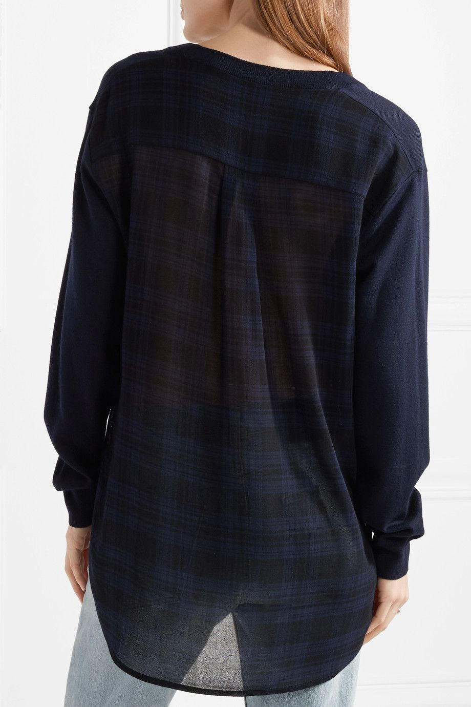Asymmetric Plaid Gauze And Merino Wool Sweater - Midnight blue Alexander Wang Visa Payment Online Geniue Stockist Clearance High Quality Outlet Low Shipping Fee kE95mEeUC