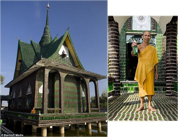 buddhist monastery made from recycled bottles
