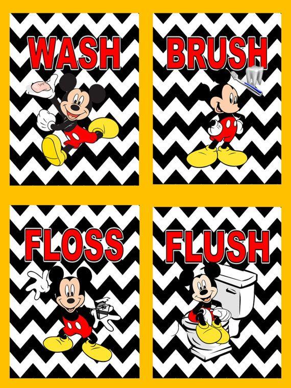 Mickey Mouse on Black White Chevron Wash Brush Flush Floss Wall Art ...