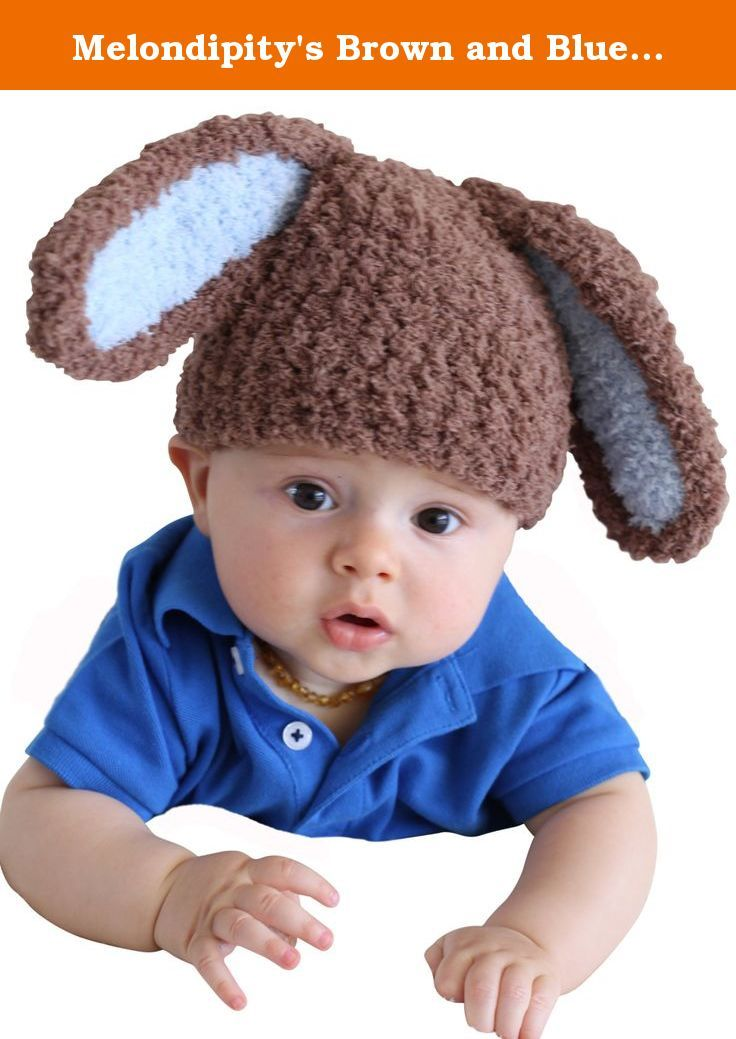 9092f434f32 Melondipity s Brown and Blue Bunny Boy Baby Hat Soft and Cuddly - High  Quality Yarn Easter Beanie for Boys Baby Hat (0-6 months). This Brown and Blue  Bunny ...
