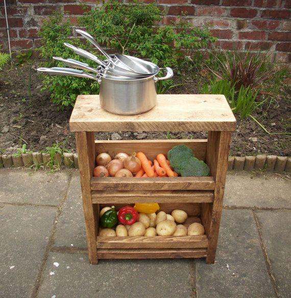Rustic Solid Wood Vegetable Rack Pan Stand Wooden Veg Rack Farm Vegetable Rack Vegetable Stand Wood