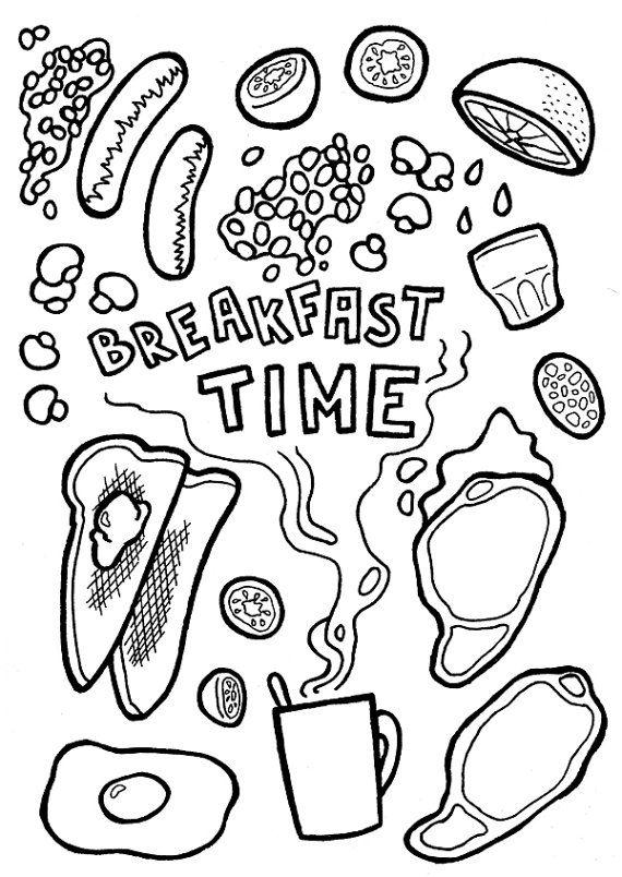 breakfast coloring pages Printable Card Breakfast Time (dinner invitation, digital card  breakfast coloring pages