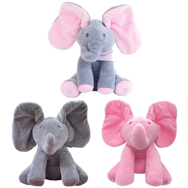 UK Kid Animated Flappy Ear The Elephant Peek-a-boo Flap Liam Lena Sing Plush Toy