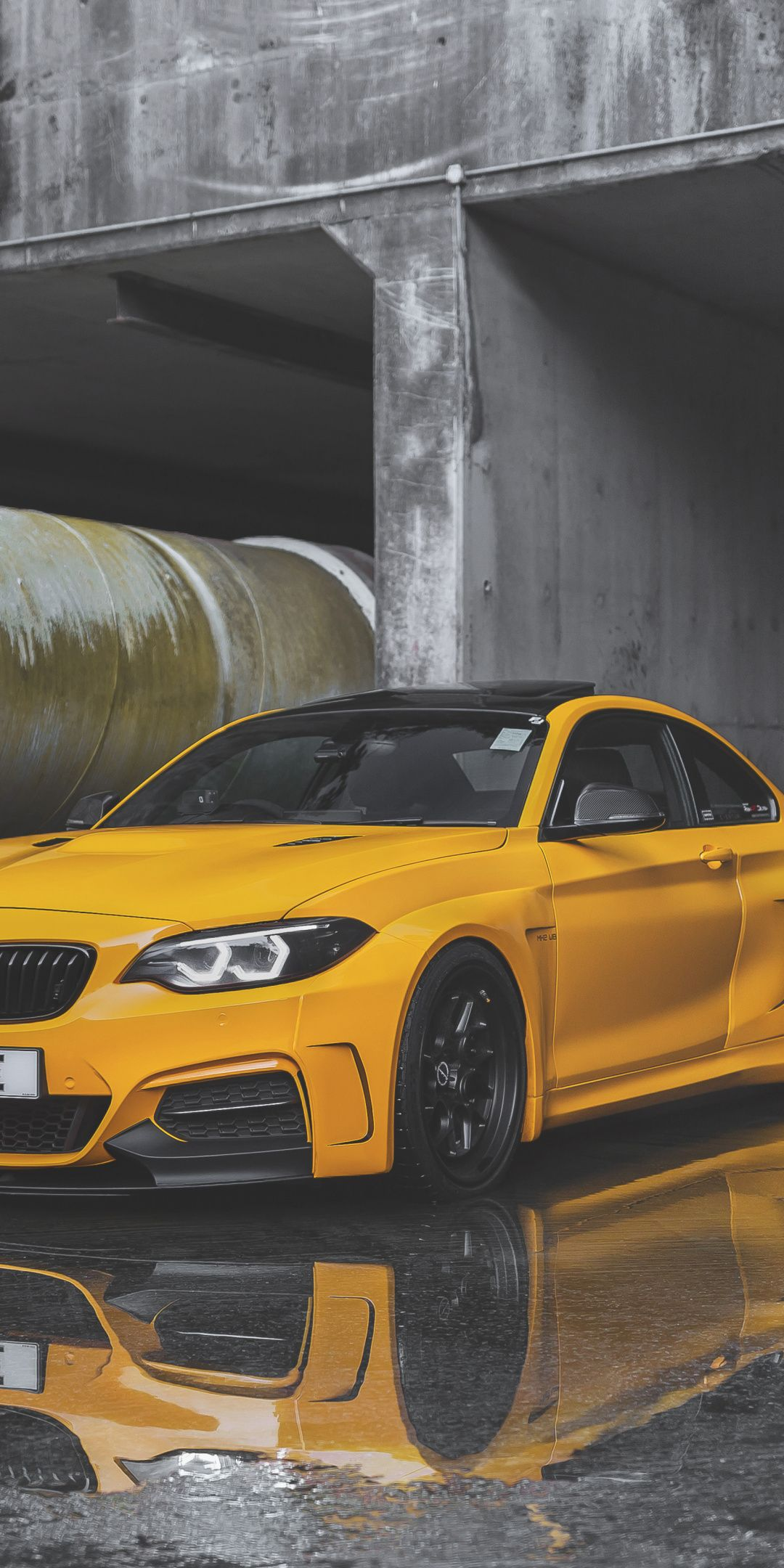 1080x2160 Yellow Car Bmw M235i Wallpaper Yellow Car Bmw Car