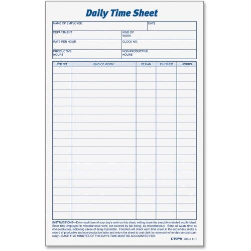 Daily Time Sheet template Pinterest