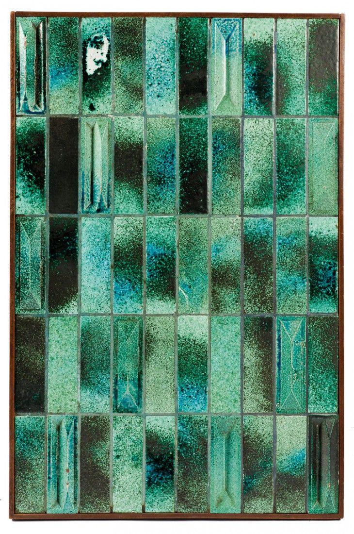 Gio Ponti; Glazed Earthenware Tiles for De Bijenkorf by Joo Ceramics, 1969.
