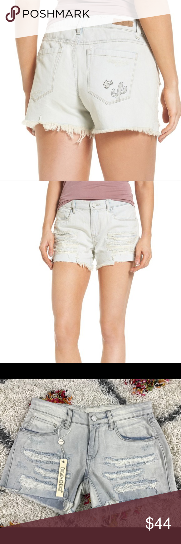 5d5745243022 Blank NYC embroidered cactus tomboy jean shorts 25 Brand new women's  BlankNYC tomboy sun baked cactus embroidered distressed jean shorts, size  25.
