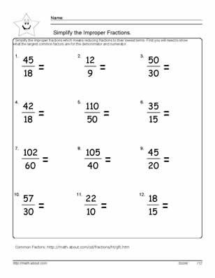 9 Worksheets on Simplifying Fractions for 6th Graders | Improper ...
