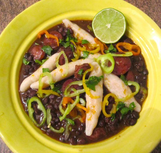 "jamaican black bean soup  flour dumpling's  a ""light"