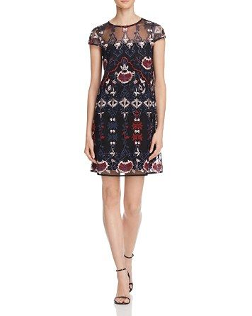 $AQUA Embroidered Shift Dress - Bloomingdale's