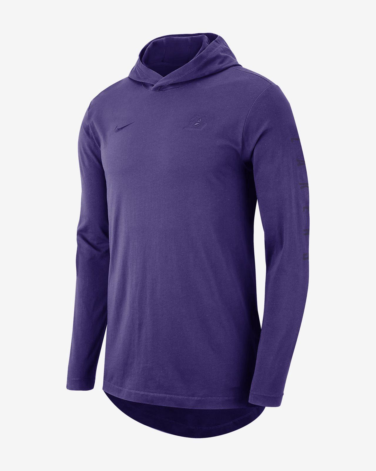 Nike Los Angeles Lakers Men s Hooded Long-Sleeve Nba T-Shirt - 3XL Purple 8eaa03238