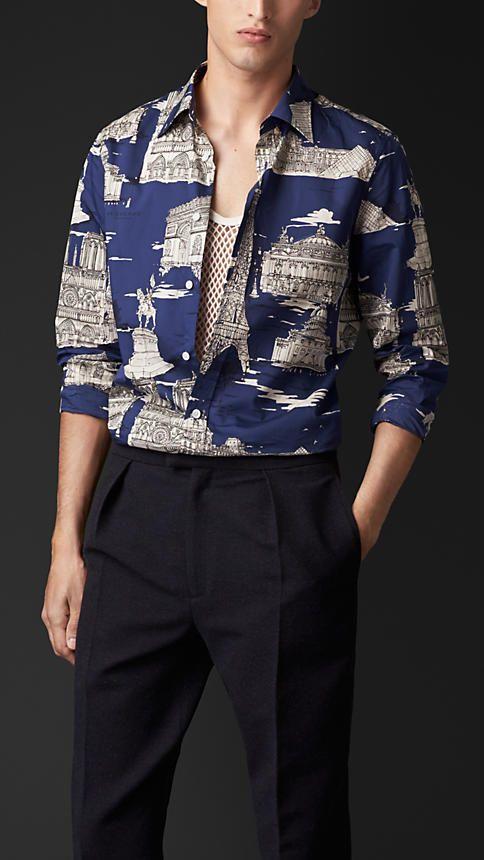 cf7feae2ebbf Another shirt I d steal. Burberry Prorsum Paris Landmarks Cotton Silk Shirt